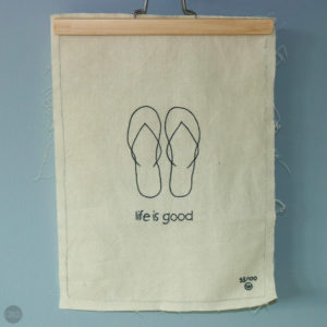 Katoenen poster 'Stitched art' – Life is good